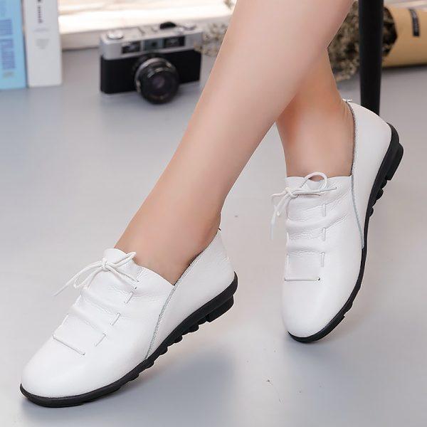 Women Shoes Leather Flats Shoes