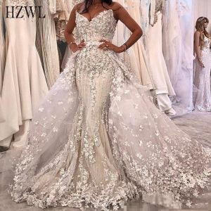 3D Floral Appliques Mermaid Wedding Dress