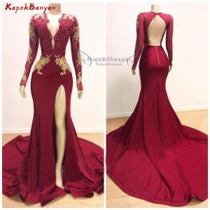 Gold Applique Mermaid Prom Dress