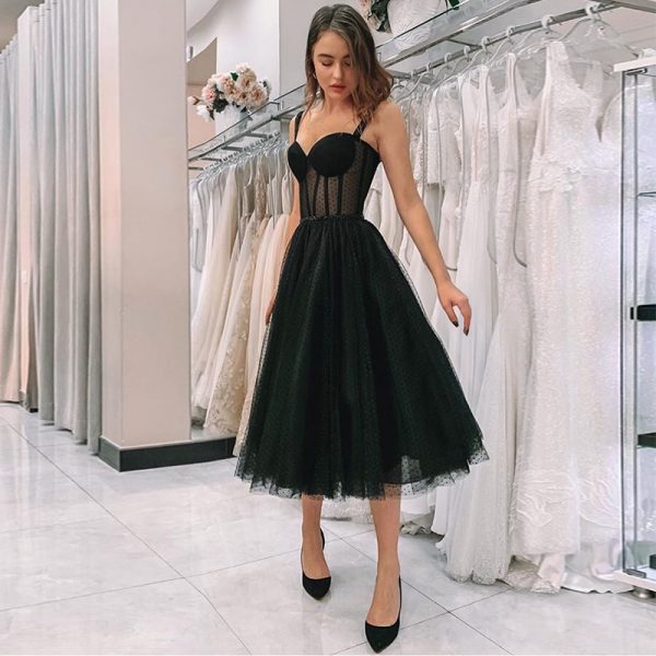 Illusion Black Prom Dress Party Gowns