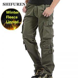 Winter Fleece Men Cargo Pants