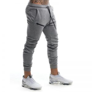 Men Zipper Pants Casual Elastic Pants
