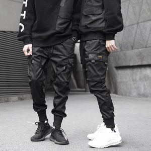 Black Pocket Cargo Pants Harem Joggers