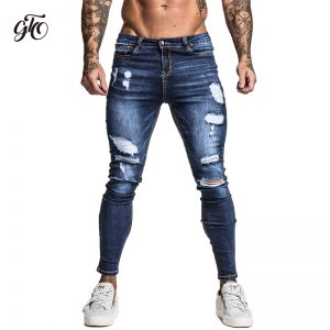 Men's Skinny Stretch Repaired Jeans