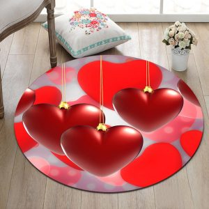 Romantic Red Hearts Living Room Carpet