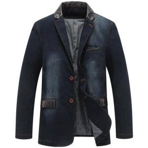 Men's Denim Blazer Casual Suit Jacket