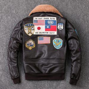 Pilot Leather Jacket Wool Collar Coat