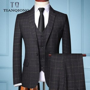 Male Formal Business Plaids Suit
