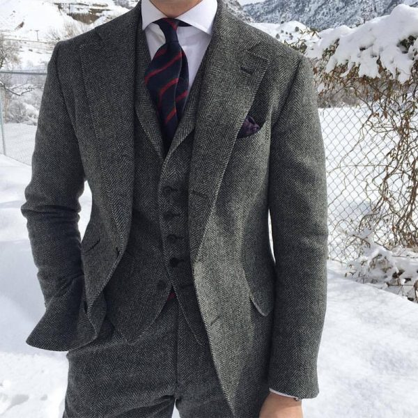 Wool Men Suits Wedding Tuxedo
