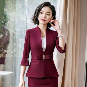 Women Skirt Suits Ladies Blazer