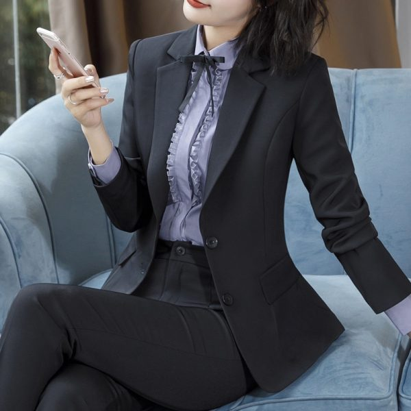 Women Pant Suits Long Sleeve Blazer