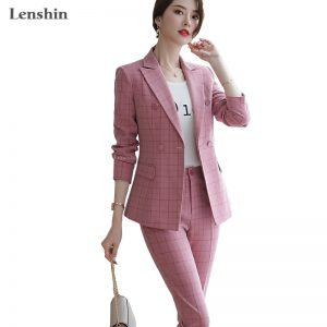 Plaid Formal Pant Suit Blazer