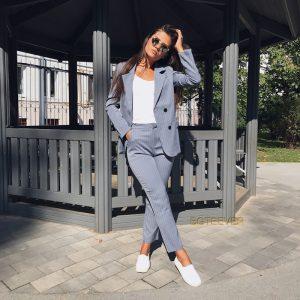Work Pant Suits Striped Blazer Jacket