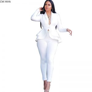 Ruffles Blazers Pencil Pants Suit