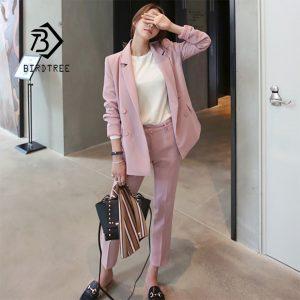 Women Pant Suit Pink Blazer