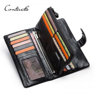 Genuine Leather Men's Long Wallet