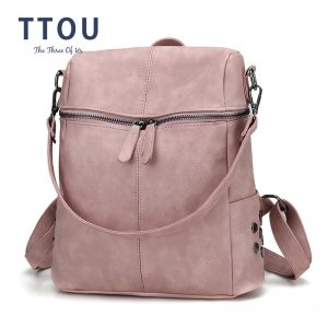 Ladies Bags Leather School Backpack
