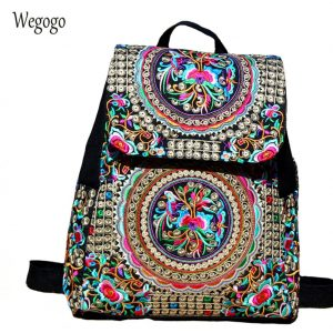 Women Backpack Embroidery School Bags