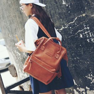 Leather Backpacks Women School Bags