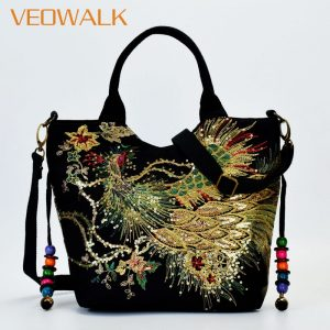 Sequins Peacock Embroidered Bags