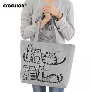 Fashion Cat Print Bags Shoulder Bag