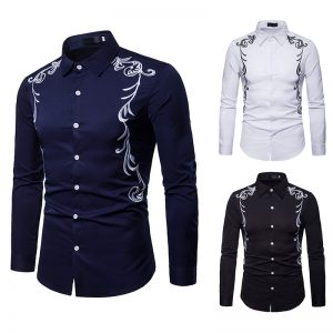 Men's Shirt Embroidered Lapel Shirt