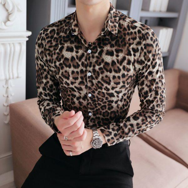Casual Leopard Print Social Shirts
