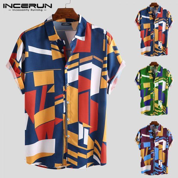 Men Beach Shirt Geometric Print Shirts