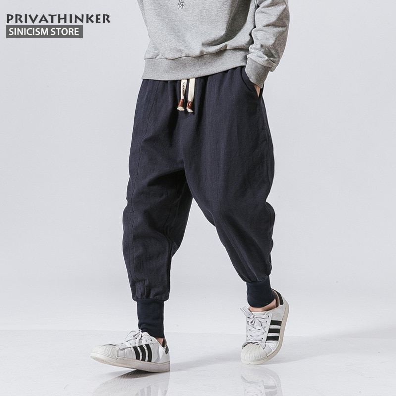 Men Harem Pants Cotton Linen Trouser