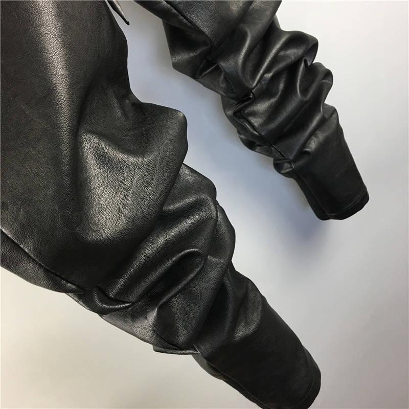 Warm Faux Leather Harem Pants