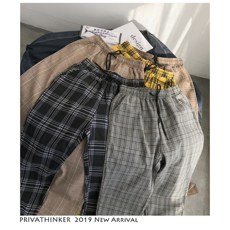 Korean Plaid Casual Pants Harem Pants