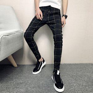 Plaid Mens Pants Hip Hop Trousers