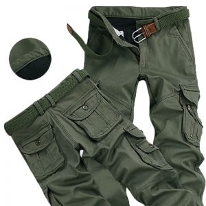 Men Winter Pants Thick Cargo Pants