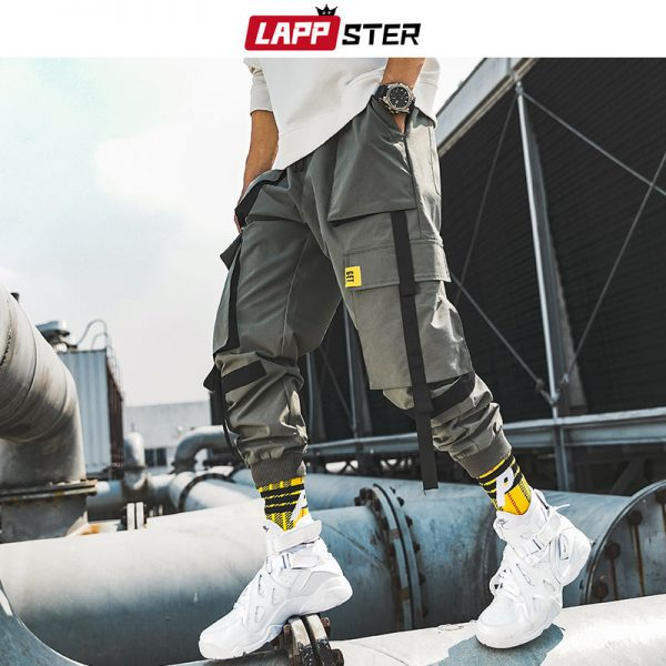 Men Ribbons Streetwear Cargo Pants