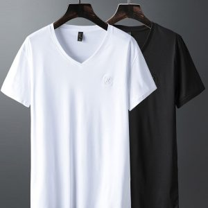 Luxury V Neck Ice Silk T Shirt