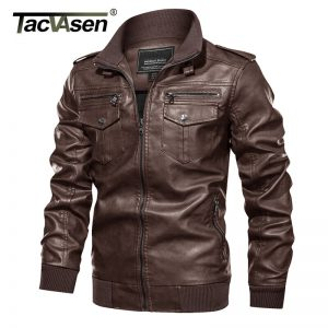 Leather Jacket Men Biker Coat