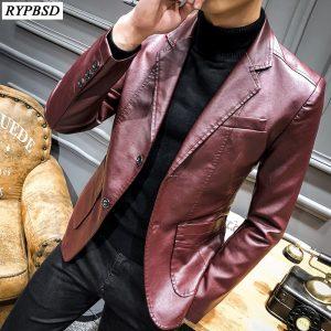Slim Fit Blazer PU Leather Blazer