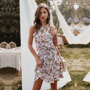 Slim Halter Print Dress