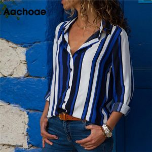 Chiffon Blouse Striped Shirt