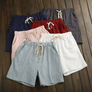 Cotton Linen Shorts Trousers