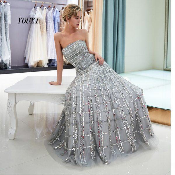 Bling Silver Prom Dresses