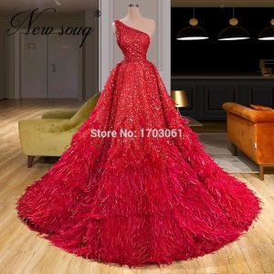 Elegant Feathers Evening Dress