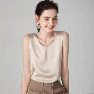 Silk Tops Sleeveless Shirt