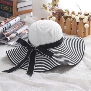 Striped Bowknot Sun Hat