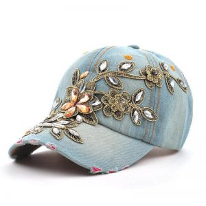 Flower Denim Snapback Hats