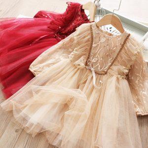 Sequinned Mesh Princess Dress