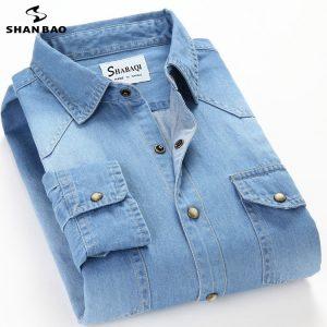 Men's Slim Denim Shirt