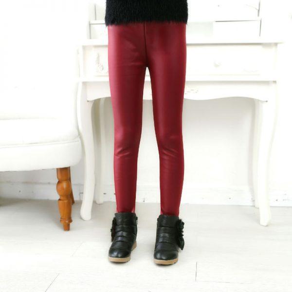 Artificial Leather Girls Leggings