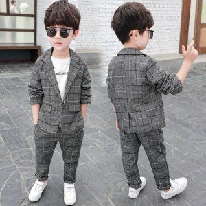 Plaid Cool Design Suit for Child