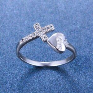 Fashion Heart Cross Ring